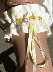 AgréAble Jarretiere De Mariee Creation Couture Poussin*