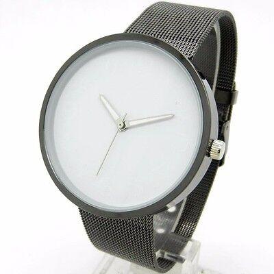 Black&White Metal Iron Net Mesh Band Quartz Wrist Watch Mens Boy Xmas Gift Q1004