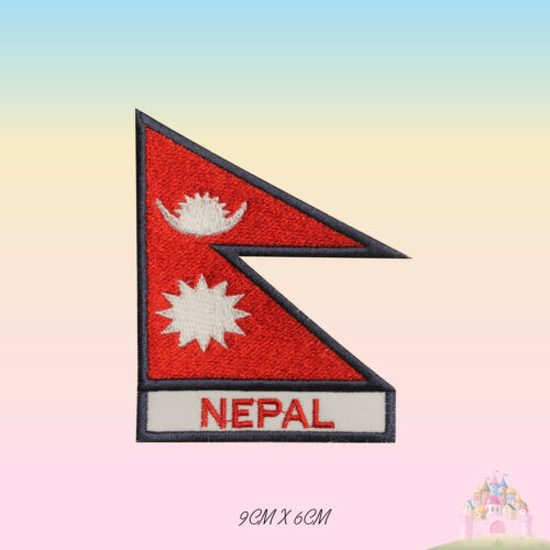 Nepal National Flag With Name Embroidered Iron On Patch Sew On Badge Applique