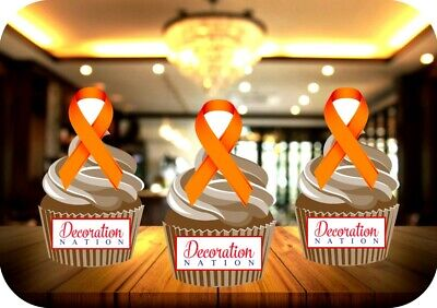 Kidney Cancer Ribbon 12 Edible Standup Cake Topper Decoration Charity Awareness Ebay