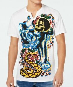 INC-Mens-T-Shirt-White-Size-Medium-M-Graphic-Tee-Snake-Skull-Rose-Print-39-319