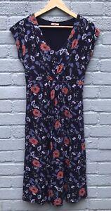 Joe-Browns-Size-12-Navy-Floral-Cap-Sleeved-Stretch-Dress-Waist-38cm-Across