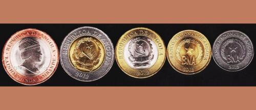 ANGOLA UNC SET OF 5 COINS 50 CENTIMOS 1-5 10-20 KWANZAS 2012 2014 BIMETALLIC