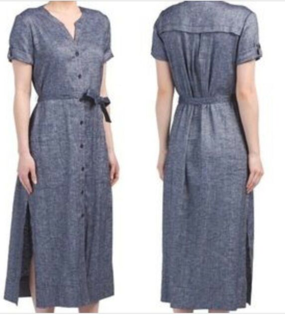 eec4199808 Theory Women's Dress Rolled Sleeve Tierra Wash Shirtdress Midi Size 10 $365
