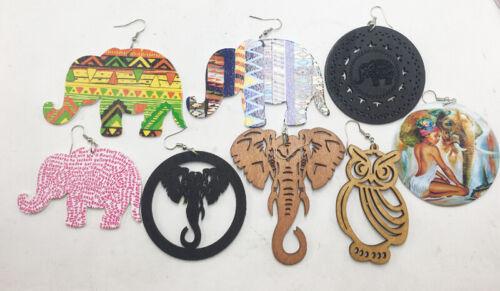 Elephant Wooden Earrings Boho Bohemian Set