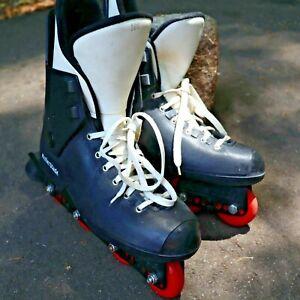 Vintage-Rollerblades-Mens-10-5-Black-Red-Inline-Hockey-Skates