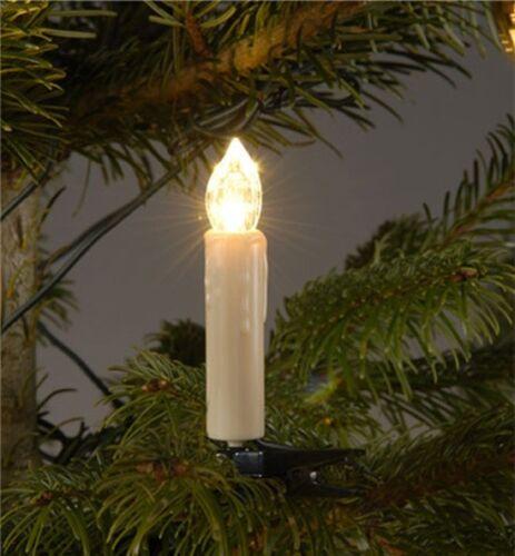 24 Innen LED Lichterkette Tannen Baum Kerzen Weihnachten Weihnachtsbaum warmweiß