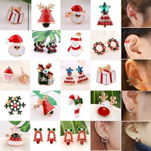 Cute-Christmas-Santa-Claus-Ear-Clip-Earrings-Enamel-No-Piercing-Clip-On-Jewelry
