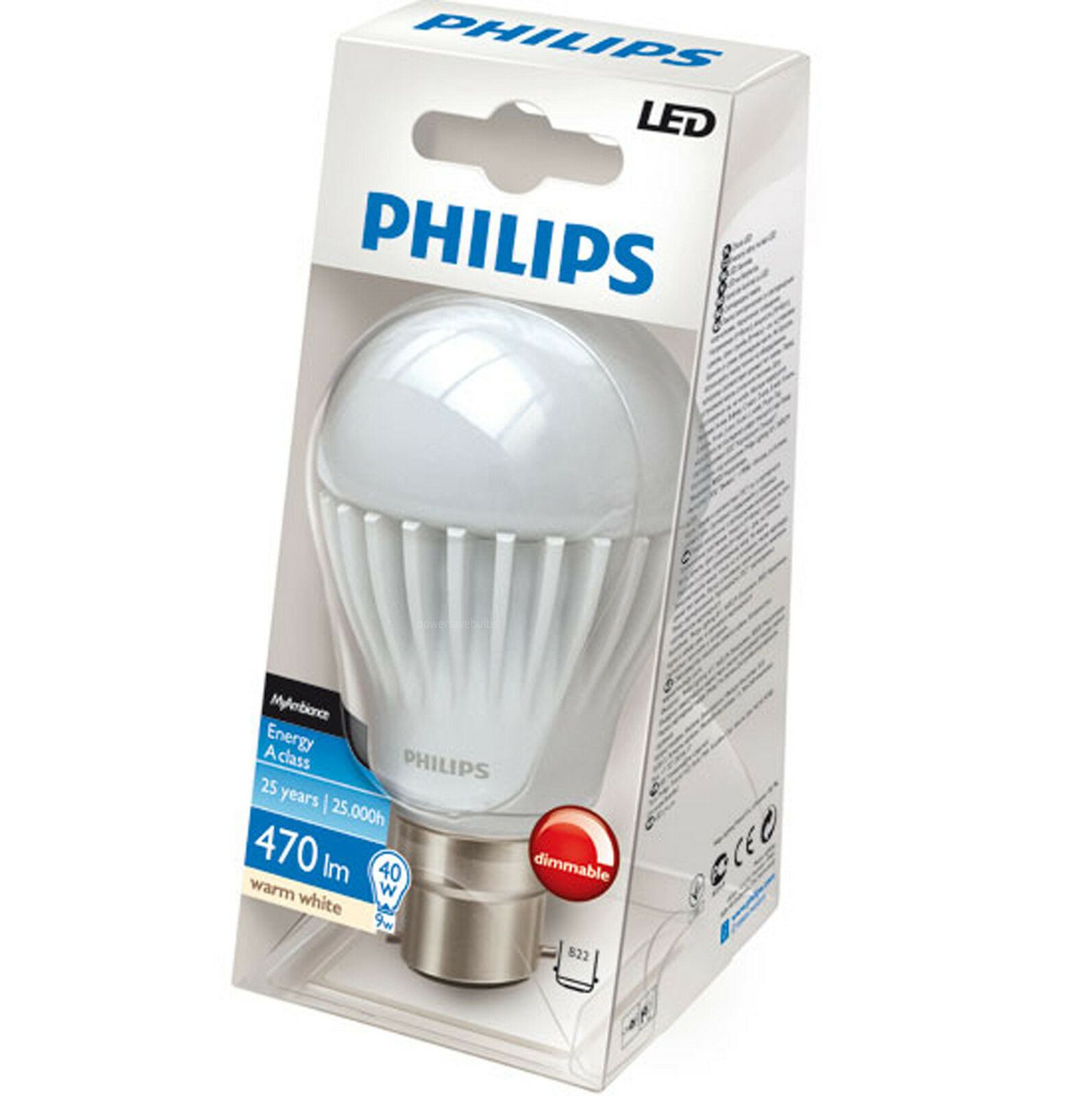 10 12 8 6 4 3 LED PHILIPS LOW ENERGY SAVING 9w=40w DIMMABLE BC B22 LIGHT BULBS