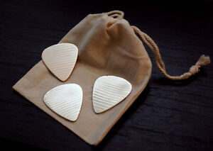 3 Pack of Hand Cut Guitar Pick - Made from Recycled Cymbal - Bronze - Drum