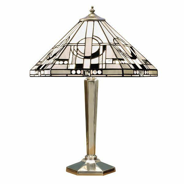 Metropolitan Tiffany Style Silver Aluminium Medium Table Lamp 60W - 64260