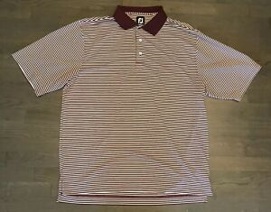 Footjoy-FJ-Golf-Polo-Shirt-Short-Sleeve-Red-White-Embroidered-Men-s-Size-XL