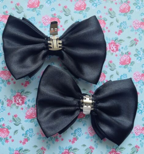 "NEW PAIR BLACK SATIN FABRIC 3/"" DOUBLE BOW SHOE CLIPS GLAMOUR BOWS RETRO VINTAGE"