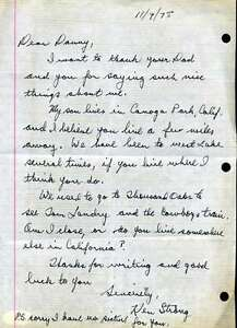 Ken Strong Jsa Coa Hand Signed  Handwritten Letter Authentic Autograph