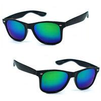 Polarized Wayfarer Spring Temple Sunglasses Matte Black Frame Blue Green Mirror
