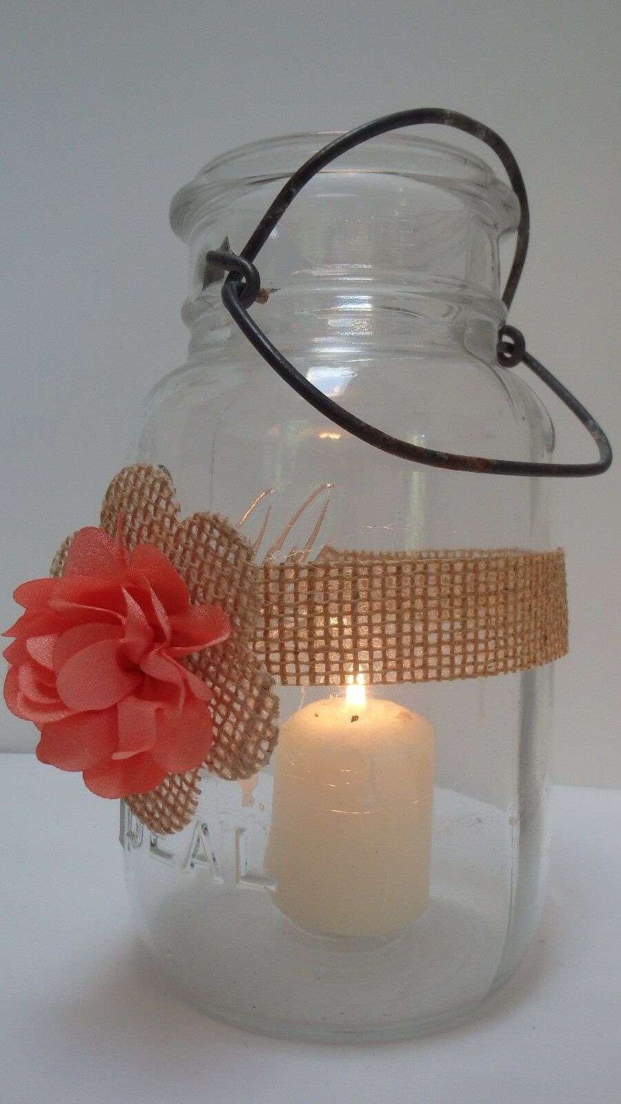 10 Burlap Coral Mason Jar Country Rustic Wedding Decorations Wraps S8