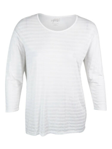Women/'s 3//4 Sleeve Striped Top Style /& Co