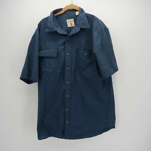 Redhead-Brand-Blue-Short-Sleeve-Button-Front-Double-Chest-Pocket-Shirt-Mens-LT