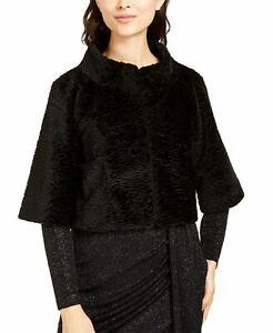 Vince Camuto Womens Jacket Black Size Large L Faux-Fur Bolero Shrug $118 112