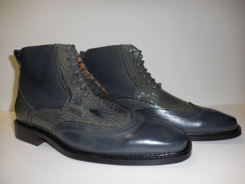 Antonio Cerrelli S 6395 Mens Grey Ankle Height Boots Modern Perforated Wingtip