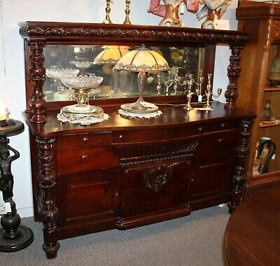 Antique Mahogany Carved Buffet Or Sideboard 72 Inches Wide Ebay