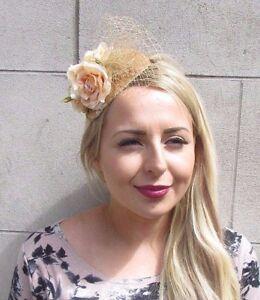 Gold Pfirsich Rose Blume Kopfschmuck Netz Haar Stirnband Hochzeit
