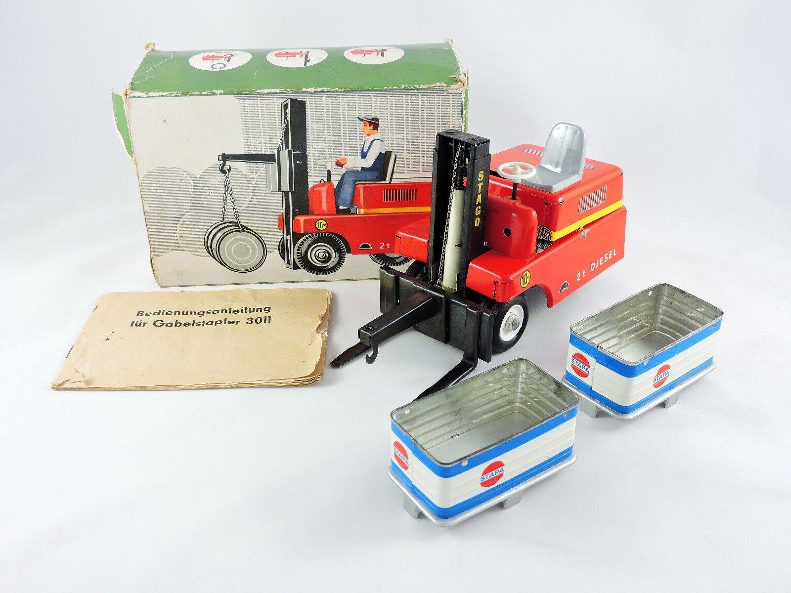 Battery Operated STAGOR Forklift truck tin Spielzeug MS Veb MSB German 3011 Jahr