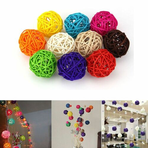 3CM 10Pcs Mixed Rattan Ball String Lights Birthday Party Wedding Home Room Decor