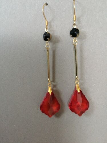 Art Deco style long ruby red and black crystal gold filled earrings