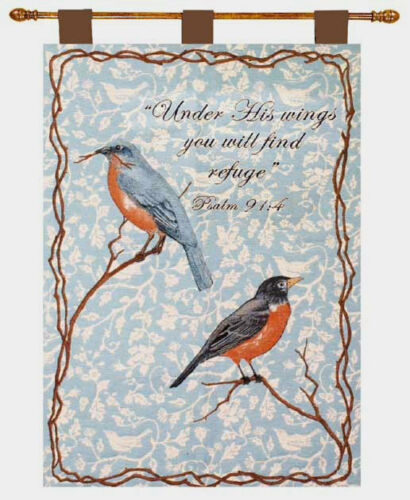 Flying High ~ Red Breasted Robins Tapestry Wall Hanging w//Verse