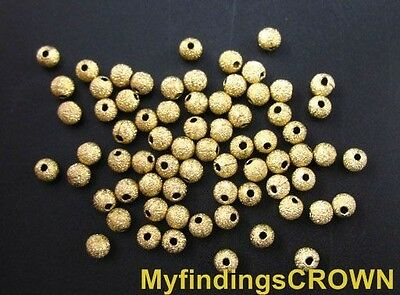 500 Pcs brass stardust beads ROUND spacer 4mm