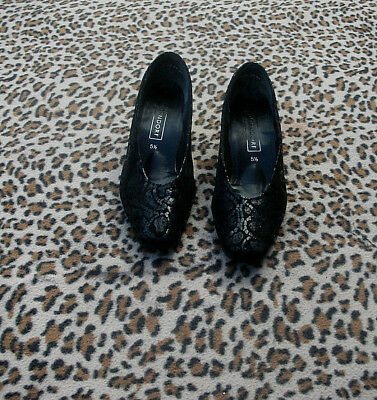 Dorndorf Vintage Cuero Negro Zapatos Talla Uk 5.5 EU 38.5