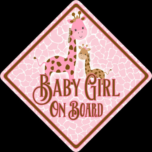 Non Personalised Baby Girl On Board Car Sign Shabby Chic Giraffes,Boutique Cute