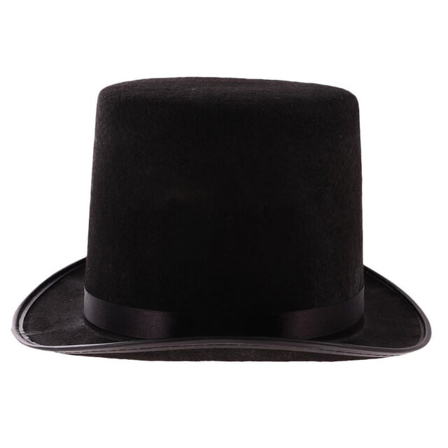 N34 Steampunk Black Top Hat with Buckle Costume Vintage Magician Ringmaster