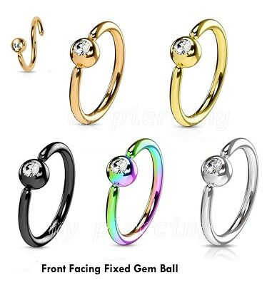 """20G 5//16/"""" Surgical Steel Captive Bead Ring with Gem Ball Nose Ring Earring 1pc"""