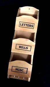 Wooden-Letter-Bill-Key-Holder-Wall-Hanging-Multi-functional-Organiser