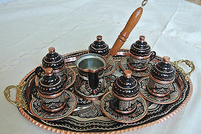 Cezve Pot Coffee,Copper,Porcelain Silver Turkish Coffee Espresso Set:2 Cups