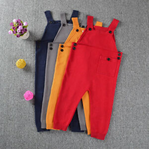 581112f1b336 Kids Baby Boys Toddler Girls Knitted Overalls Strap Rompers Jumpsuit ...