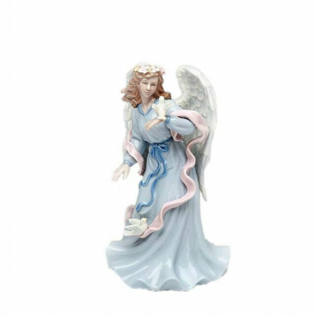 """Wind up Musical  6.5/"""" Tall Cosmos Gifts Porcelain Angel Playing Violin"""