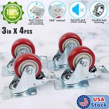 4 Pack Heavy Duty 3 Inch Swivel Total Lock Brake Polyurethane Plate Caster Pu
