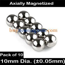 10pcs 10mm Dia N42 Neodymium Sphere Magnets NdFeB Rare Earth Magnetic DIY Balls