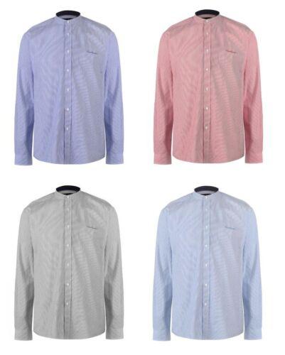 Homme 100/% coton CARDIN à manches longues chemise sans col chemisier S M L XL XXL