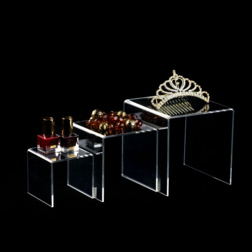 """3pc Acrylic Clear Display Risers 3/"""" 4/"""" 5/"""" inch Jewelry Retail Showcase Fixture"""