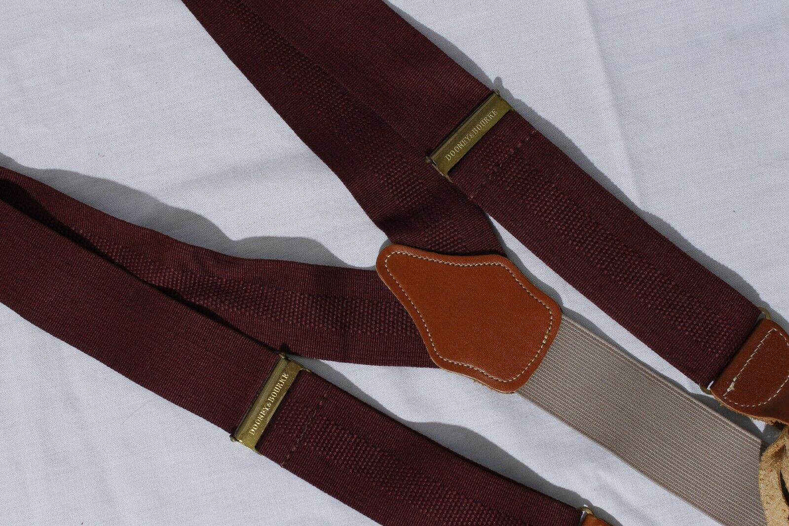 Dooney & Bourke Men's Burgundy Suspenders Adjustable Braces Made in England