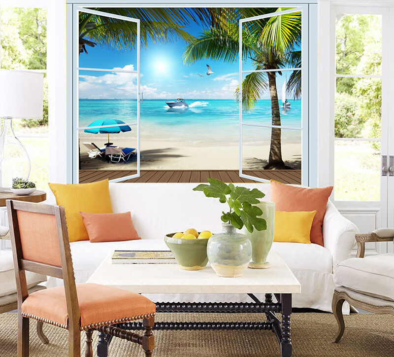 3D Beach Palm tree ferry Wall Paper Print Decal Wall Deco Indoor wall Mural