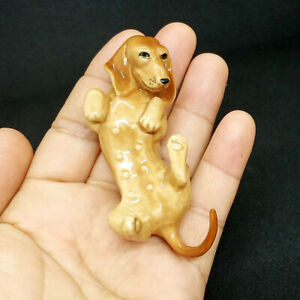 * High Quality Handmade Miniature Ceramic Brown Dachshund Dog Figurine 02*