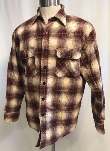 Vintage Quilted Plaid Flannel Shirt Jacket Large