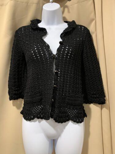 Dolce & Gabbana Black Crochet Cardigan Sweater