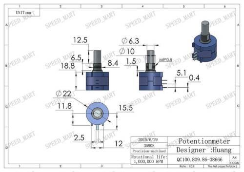 2 X 20K Ohm 3590S-2-203L Rotary Wirewound Precision Potentiometer Pot Multiturn