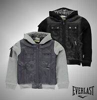 New Junior Boys Branded Everlast Hooded Lined Jacket Full Zip Top Size Age 7-13